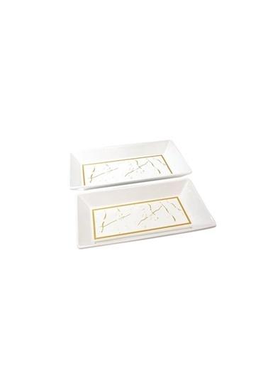 Akay Beyaz Mermer 2'Li Kayık Renkli